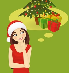 Chrismas woman thinking vector