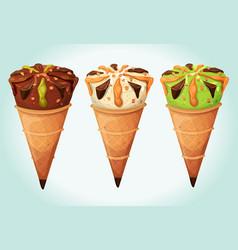 classic ice cream cones set vector image