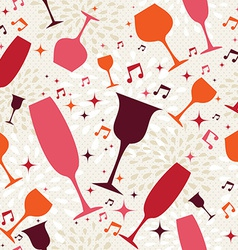 Cocktail glasses seamless pattern background vector image