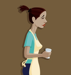 coffee shop employee woman making and serving coff vector image