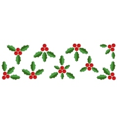 Collection of Red Holly Berries and Green Leaves vector image