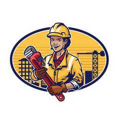 construction woman worker design vector image