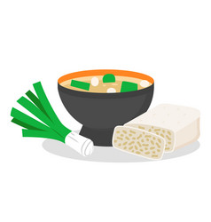 Delicious miso soup with bow and tempeh meal set vector