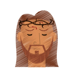 Drawing face jesus christ crown design vector