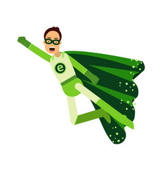 Ecological superhero man in green costume flying vector