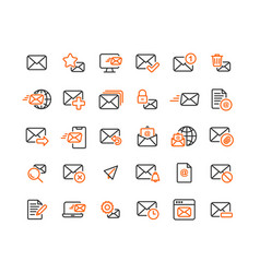 email and mail outline icon set vector image