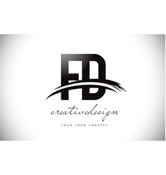 Fd f d letter logo design with swoosh and black vector