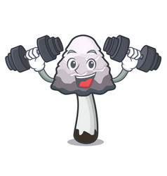 Fitness shaggy mane mushroom character cartoon vector
