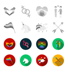 flag unicorn symbol arrows with heartgay set vector image