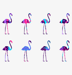 Flamingo with a pattern of geometric shapes vector