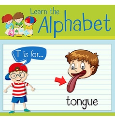Flashcard alphabet T is for tongue vector