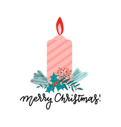 flat style color christmas flaming candle vector image
