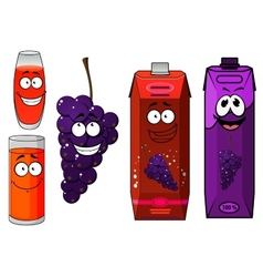 Funny cartoon grape and juice vector image