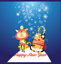 Funny cats in new year vector