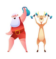 funny santa and reindeer doing sport vector image