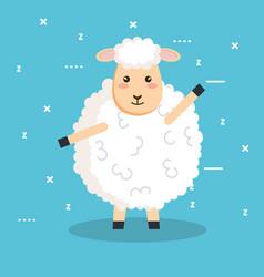 good night sleep cartoon sheep animal vector image