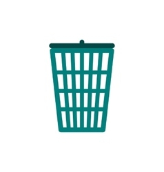 Green trash basket icon flat style vector image