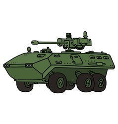 Green wheeled armoured vehicle vector