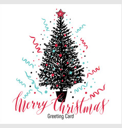 Hand drawn christmas card new year tree with vector