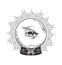 hand drawn fortune telling magic crystal ball vector image
