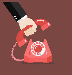 Hand picking up the phone vector