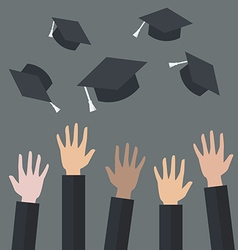 Hands of graduates throwing graduation hats in the vector