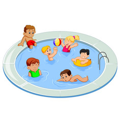 happy kids playing in an outdoor swimming pool vector image