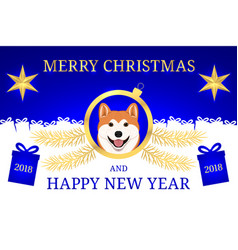 happy new year 2018 and merry christmas with akita vector image