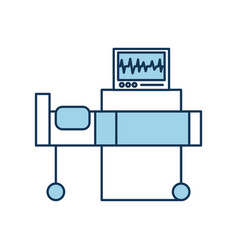 Hospital interior with heart rate monitor bed vector
