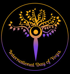 international day of yoga the figure of a man in vector image