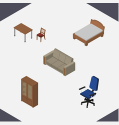 Isometric design set of couch bedstead cabinet vector