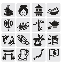 Japanese icon set vector