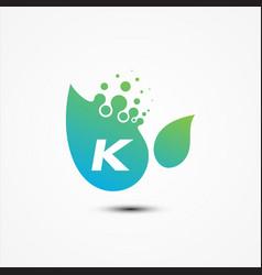leaf design with k letter symbol design minimalist vector image