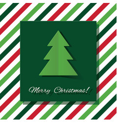 merry christmas greeting card with paper cut out vector image