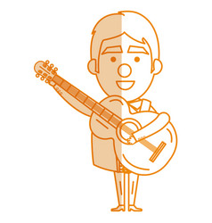 Mexican mariachi with guitar avatar character vector