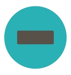 Minus flat grey and cyan colors round button vector
