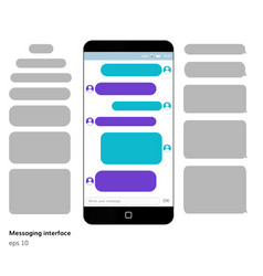 mobile phone screen messaging text boxes vector image