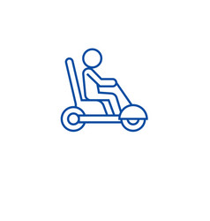 Mobility scooter line icon concept mobility vector