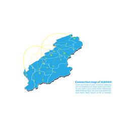 Modern of albania map connections network design vector