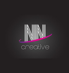 nn n letter logo with lines design and purple vector image
