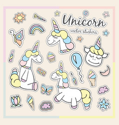 Patches of unicorn with cosmetics sweets and vector