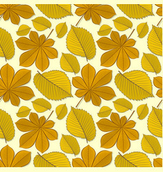 Pattern with chestnut and elm autumn leaves vector