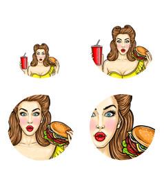 pop art avatar pin up girl holds vector image