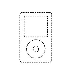 portable music device black dashed icon vector image