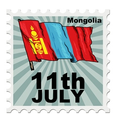 post stamp of national day of Mongolia vector image
