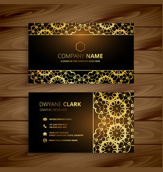 Premium golden dark business card design vector
