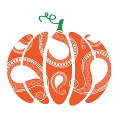 Pumpkin with swirls vector