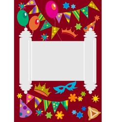 Purim background with torah in midle vector