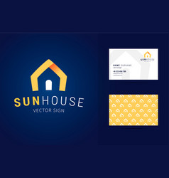 real estate logo and business card template vector image