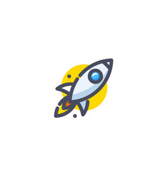 rocket flying up icon colorful cartoon ship vector image